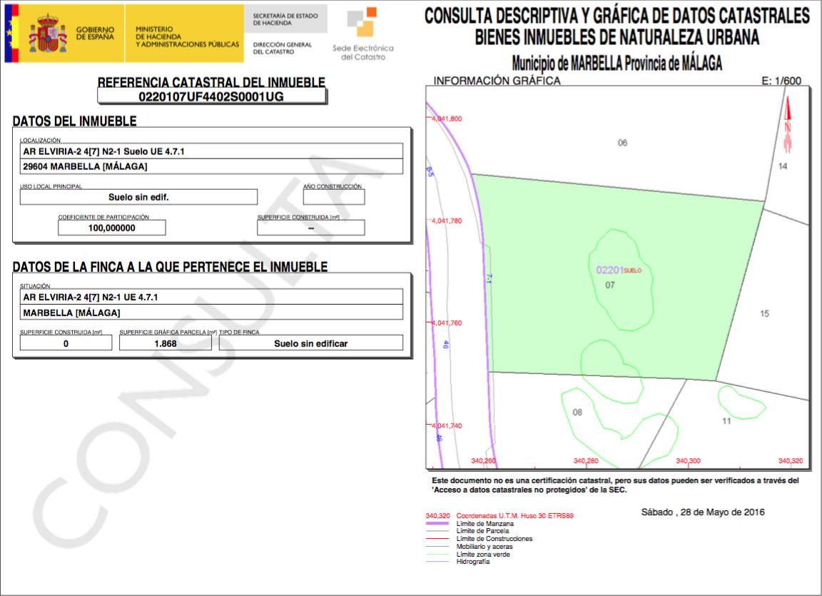 Plot  Residential for sale   in Elviria