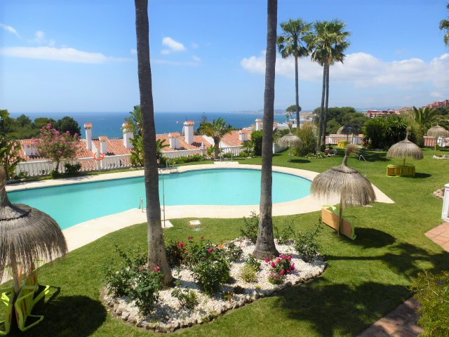 Absolutely beautiful two bedroom townhouse in Benalmadena Costa several minutes walk to the beach. The gated community is excellently maintained with a magnificent swimming pool with views to the sea. The apartment has been maintained to a very high standard, the rear 50m2 southwest facing terrace complete with an abundance of flowers and shrubs is simply stunning.  Viewing is highly recommended