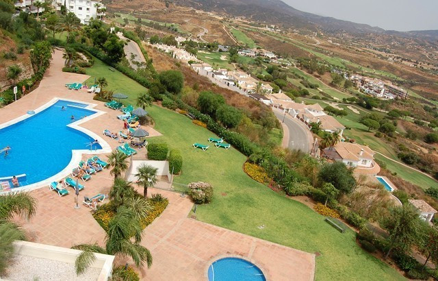 Ground floor 3 bedroom front line corner apartment with superb views to golf course, mountains and s, Spain