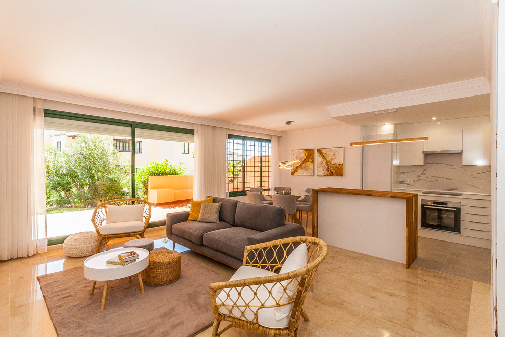 Great two bedroom ground floor apartment in Elviria in El Manantial Urbanization .The apartment cons, Spain