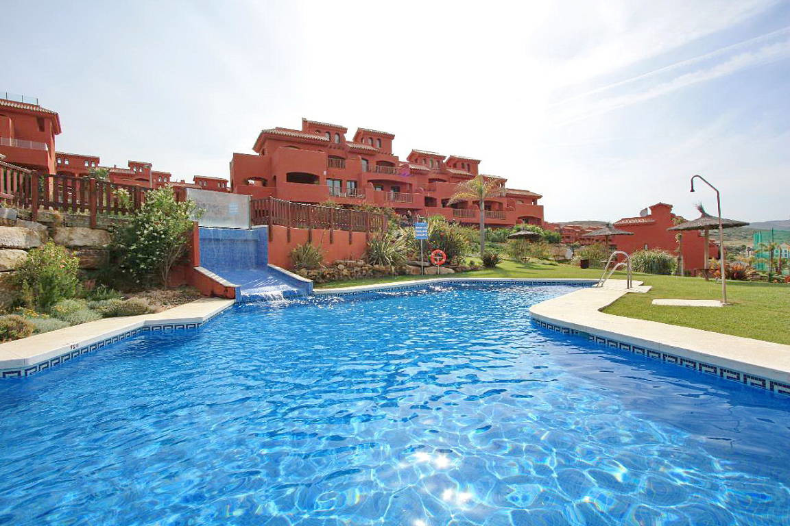 This two bedroom apartment in the popular Galera development on the west side of Estepona offers a f,Spain