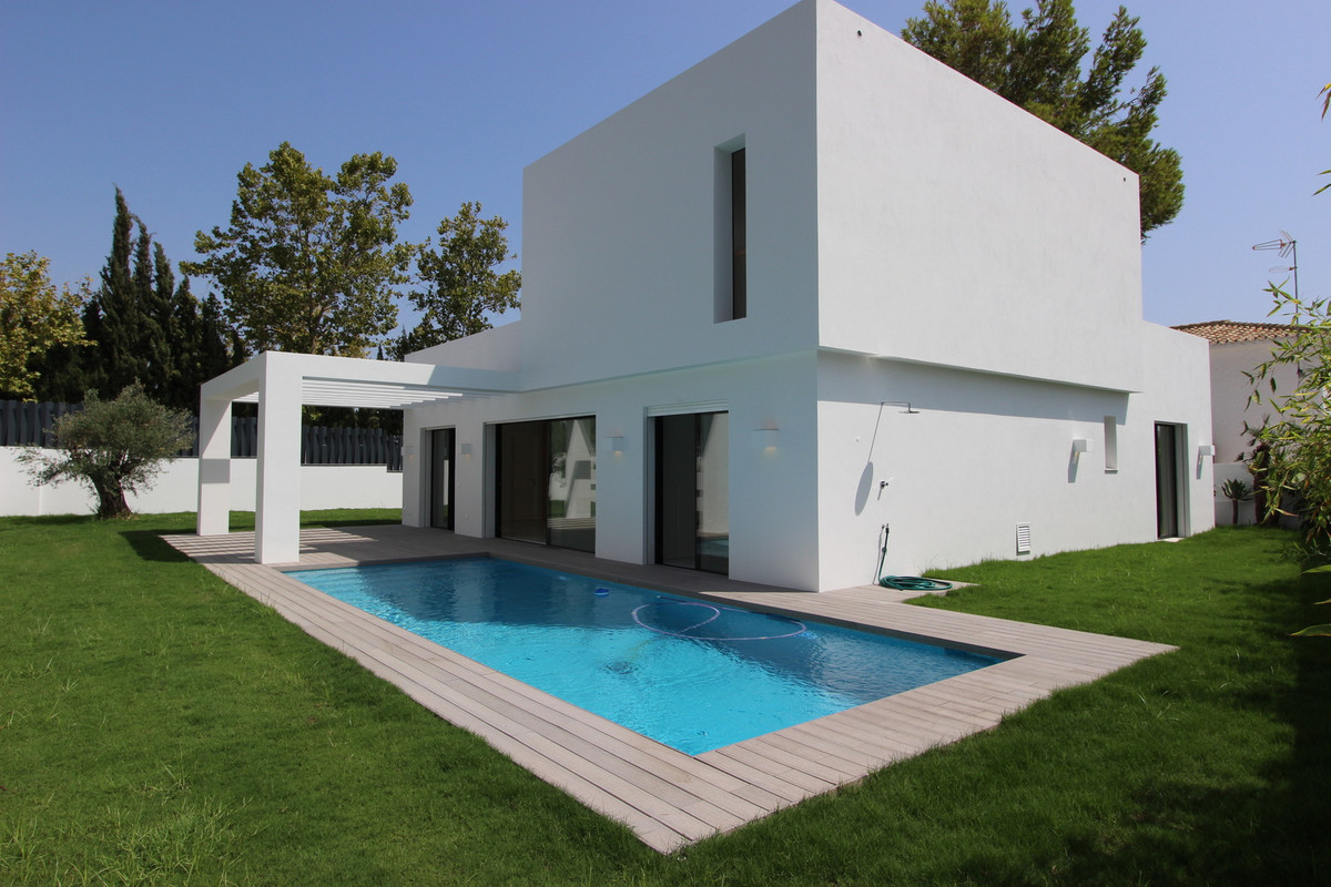 Brand new, with a contemporary design villa  with sea and golf views for sale in Guadalmina Alta, so,Spain