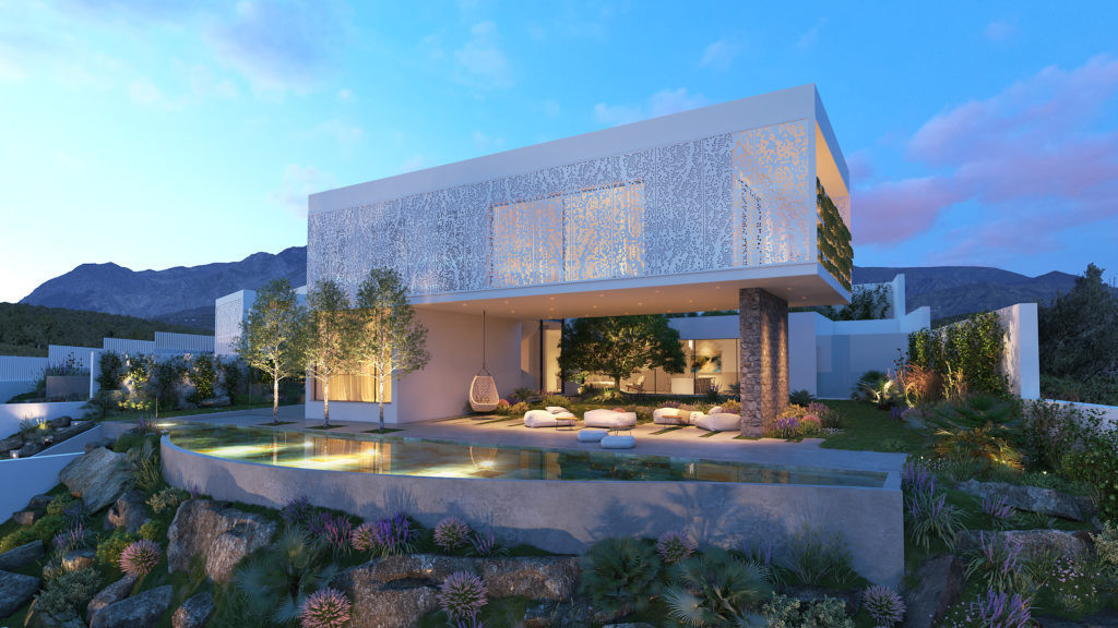 Magnificient modern house with panoramic sea views and developed area by contemporary design villas.,Spain