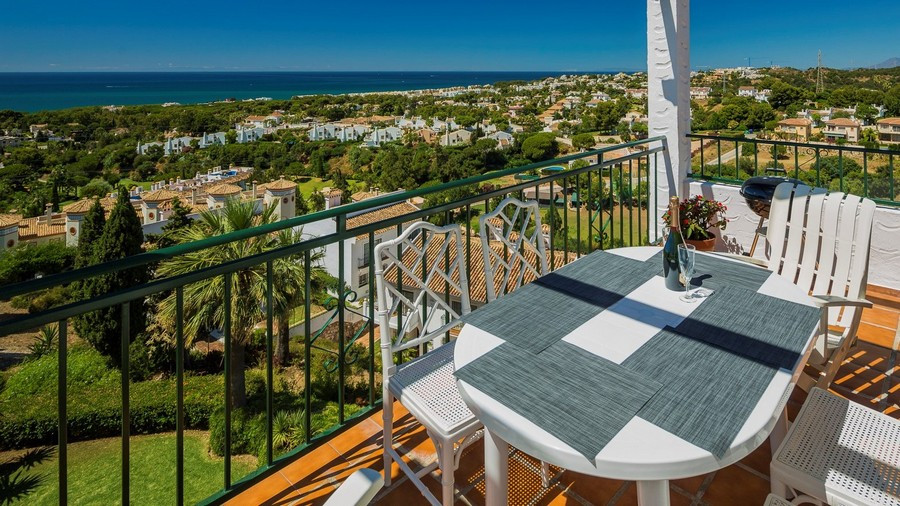 Panoramic views from the lounge and terrace of this beautiful south facing apartment.  In the much s, Spain