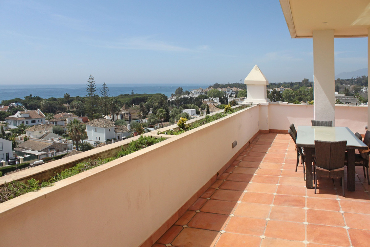South-West facing two bedroom corner duplex penthouse located in an emblematic building on Marbella&,Spain