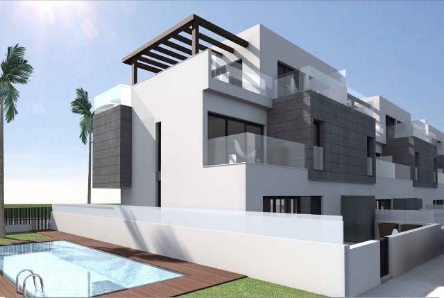 Residential complex with 12 modern houses with minimalistic design, high quality finishes and a comm, Spain