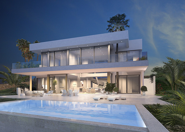 The design of villa is elegant and modern at the same time, its stunning architecture mixes the Medi, Spain