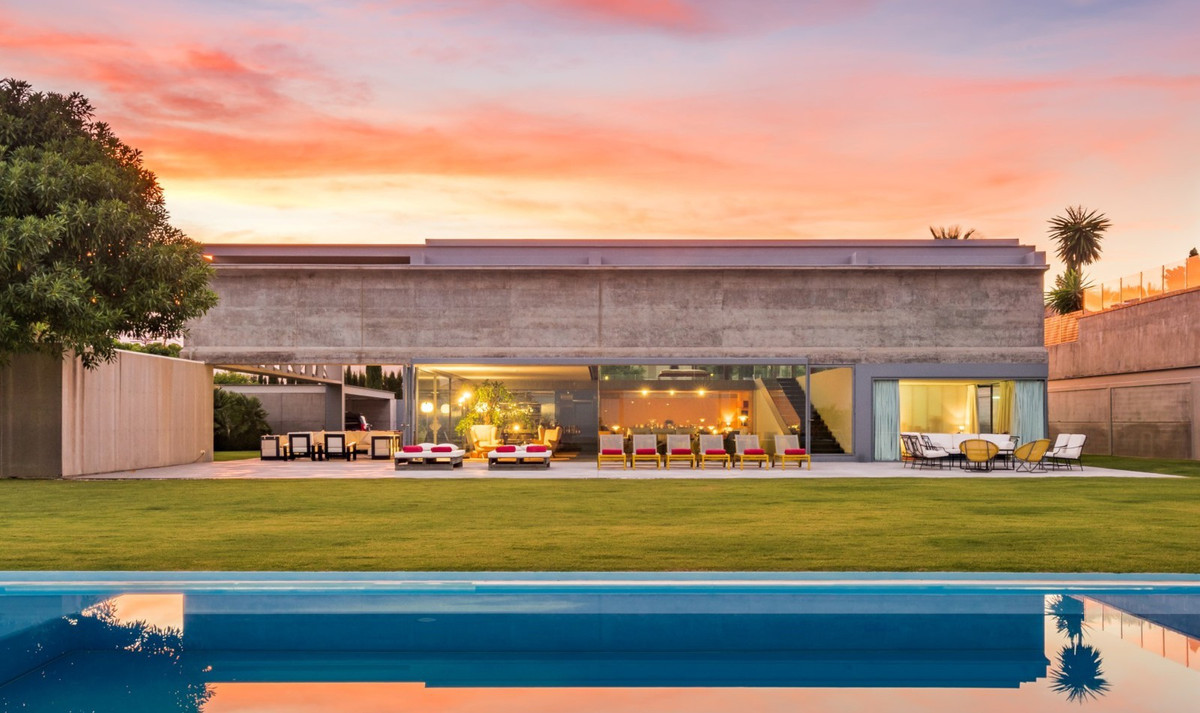Los Flamingos. A spectacular ultra modern design villa with views all the way out to sea for sale in,Spain