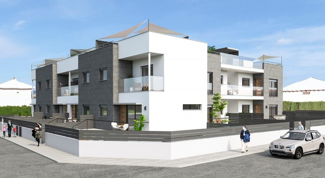 Brand new complex with ground floor and top floor apartments, aswell as duplex properties, in Santia, Spain