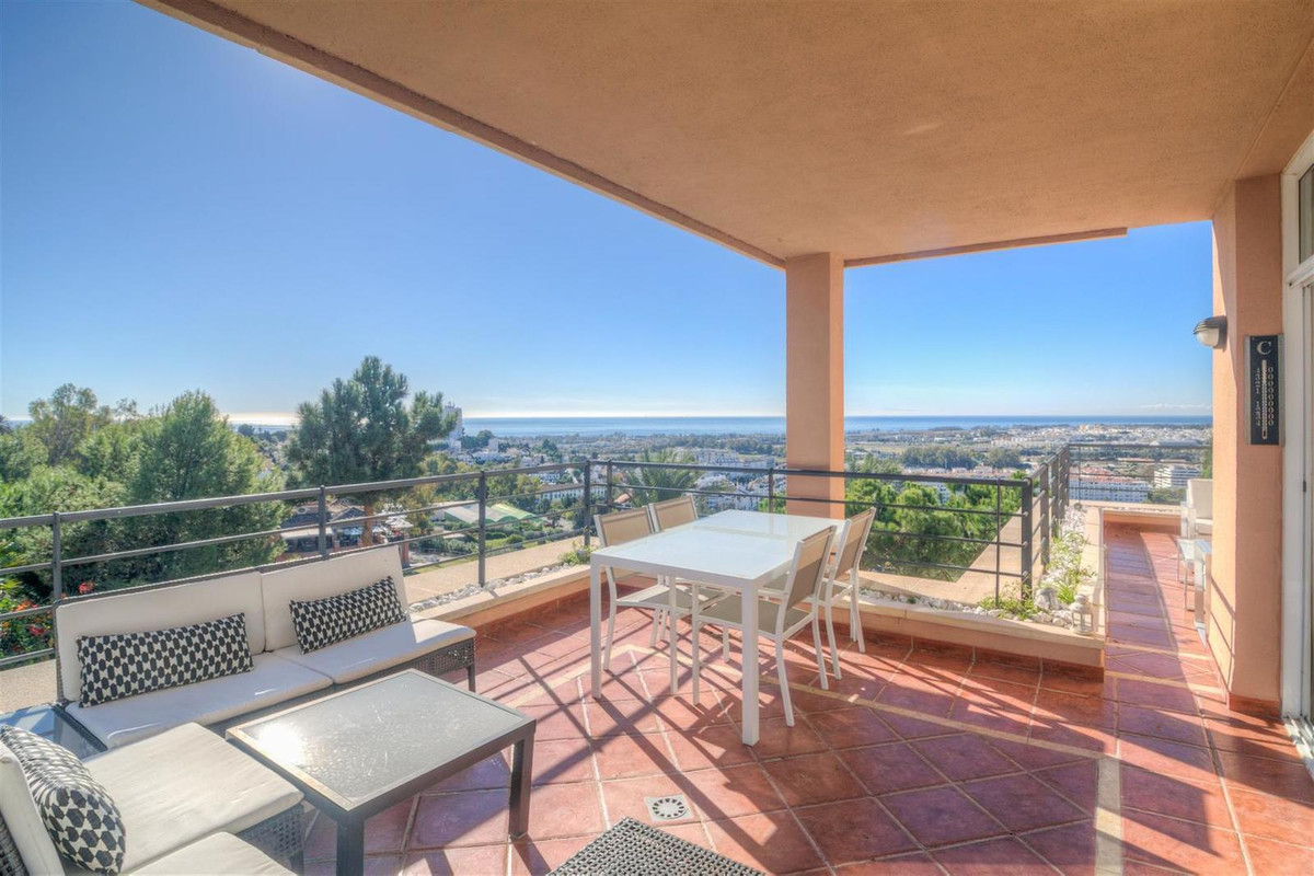 Modern three bedroom, first floor apartment with gorgeous elevated sea views for sale in Magna Marbe, Spain