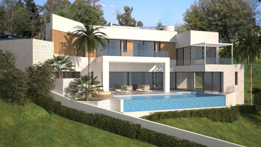 An unique contemporary villa project with fantastic panoramic sea views and building license in plac,Spain