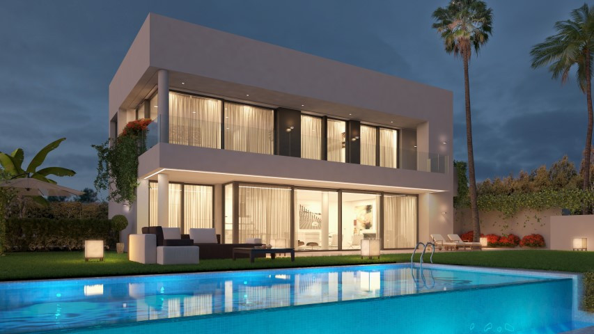 Spectacular villa in construction of 4 bedrooms and 5 bathrooms in Estepona.  The villa is built wit,Spain