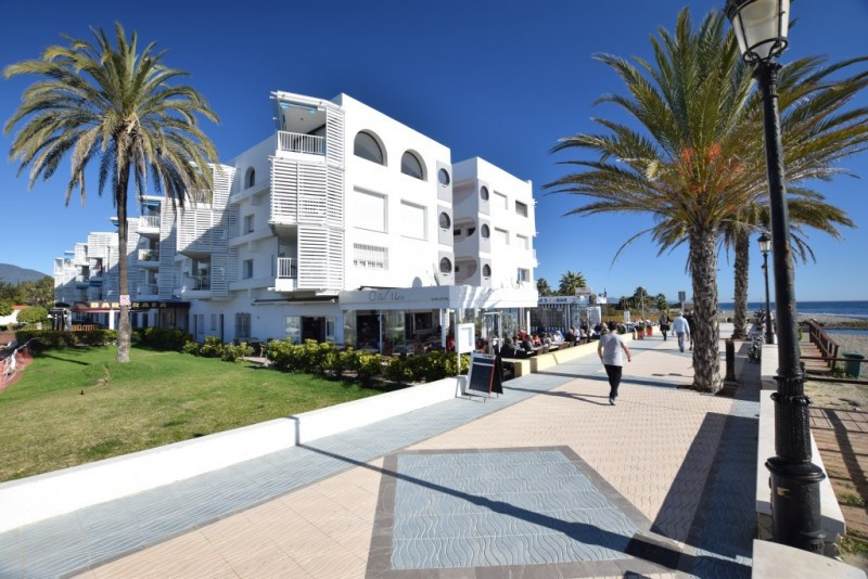 South west facing top floor apartment in Los Pinos, situated literally right on the seafront of San , Spain