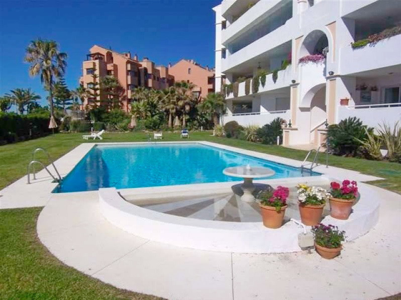 Stunning frontline beach apartment for sale next to Puerto Banus, Costa del Sol. Located in a quiet ,Spain