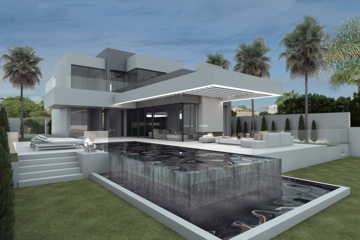 Estepona, Nueva Atalaya- For sale plot with project for a modern villa with sea views from the first,Spain