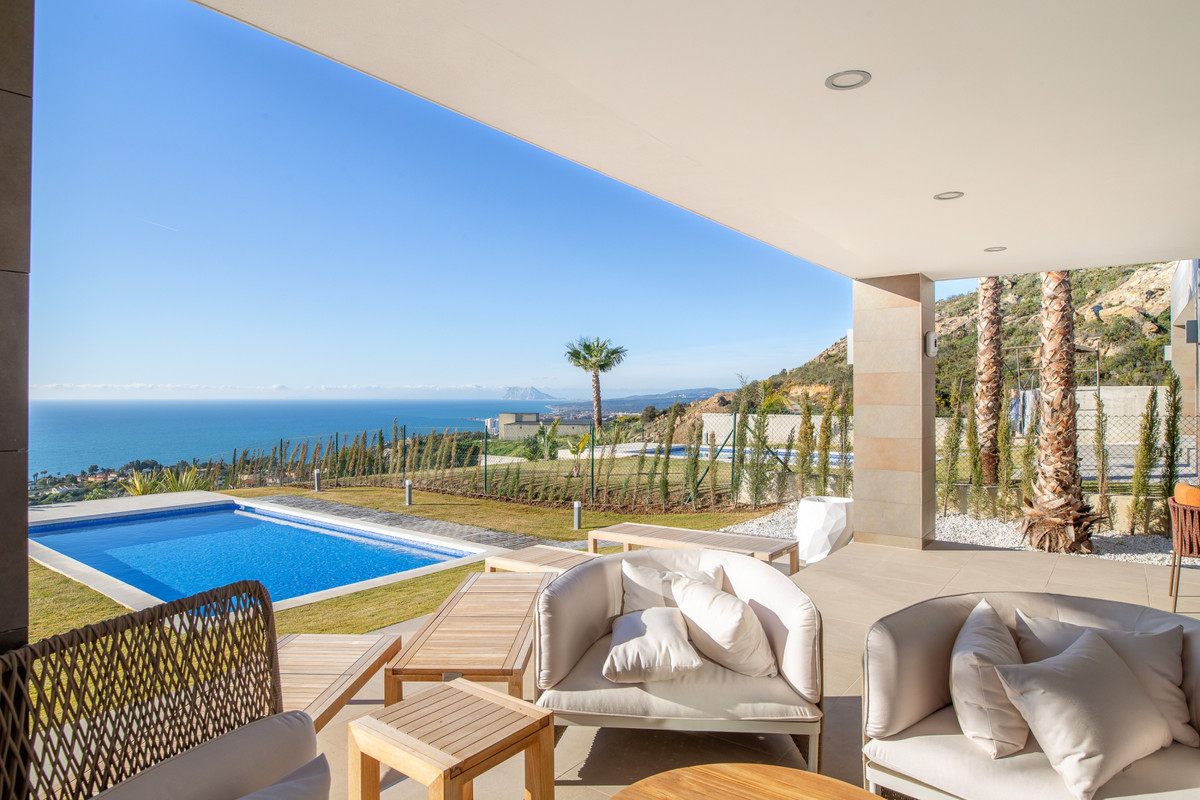 New built contemporary design villa with fantastic views to the sea, Gibraltar, Northern Africa. Fin,Spain