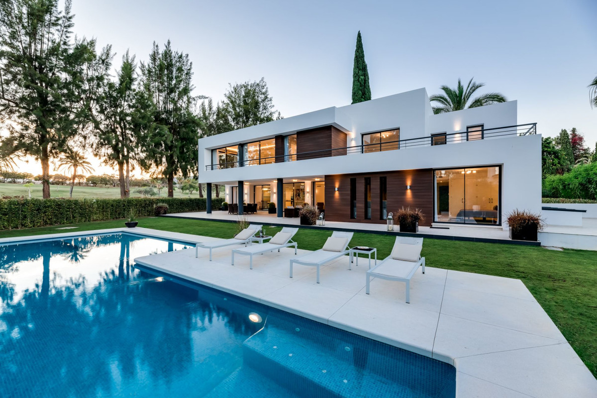A frontline golf contemporary designer villa in Nueva Andalucia for sale. This south-facing 5 bed vi, Spain