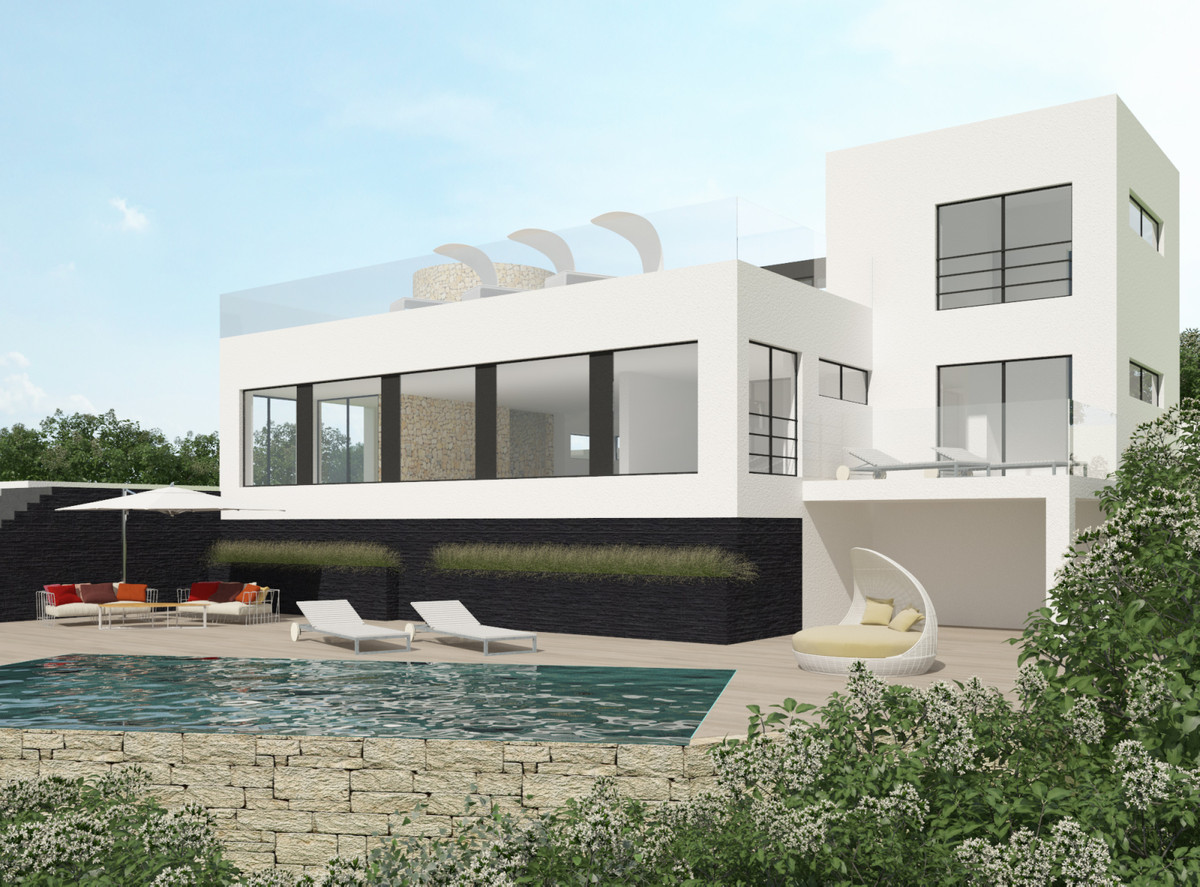Unfinished construction of a cozy Ibiza style villa with 3 bedrooms ensuite, private pool and open p,Spain