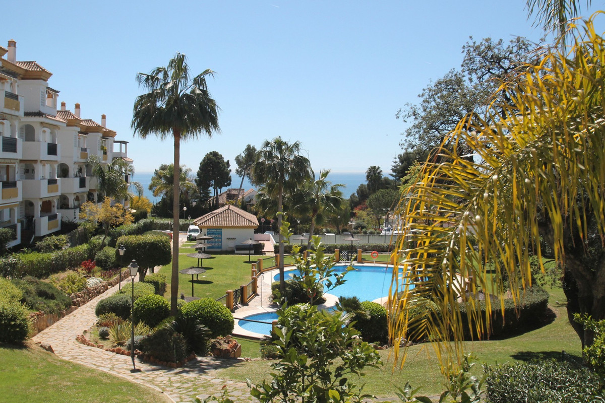 South facing two bedroom first floor apartment with sea views within a gated community eight-hundred, Spain