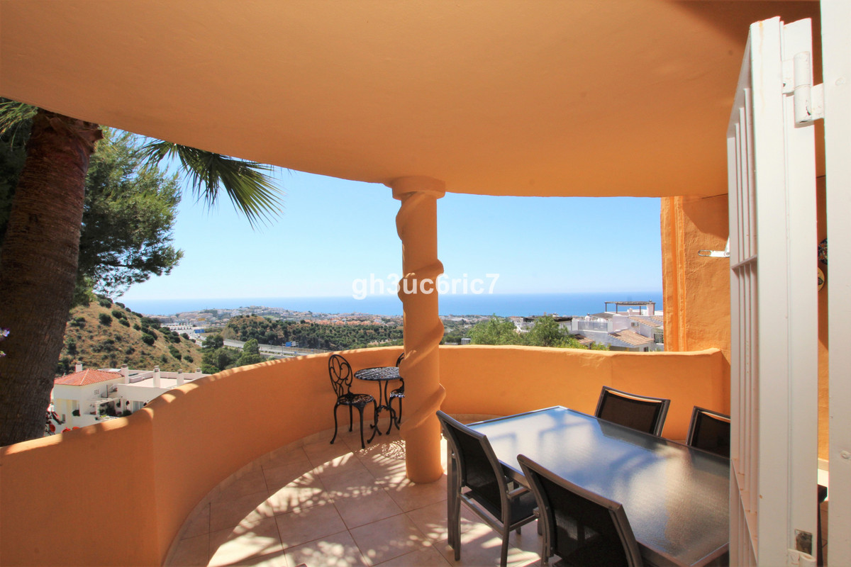 Elevated ground floor apartment with wonderful sea views from inside as well as the terrace, located,Spain