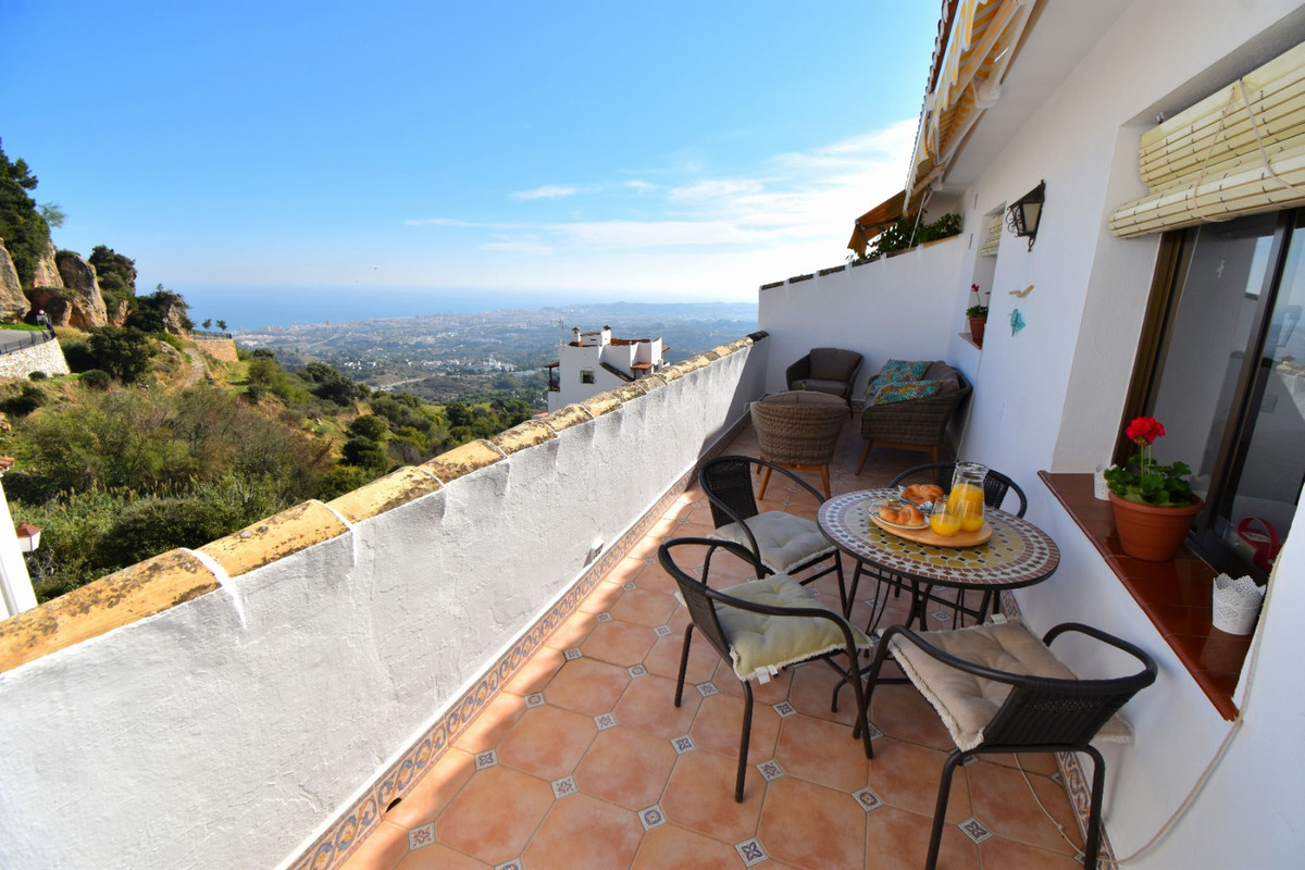 "Lovely 2 bedroom apartment situated right next to the heart of Mijas Pueblo! The main areas of the village are just a couple of minutes walk away with many shops, restaurants and bars to enjoy plus many festivals and events on throughout the year!  The apartment itself has a long terrace which is not overlooked and has stunning views of the mountains and coastline! Inside, you find all the comforts - air conditioning throughout (hot and cold), WiFi internet and a spacious and fully equipped kitchen.   Mijas is just 15 to 20 minutes drive from Málaga Airport and also a short drive to the busier coastal resort towns of Fuengirola and Benalmadena! This is the perfect apartment either for those looking for a quieter place to enjoy a relaxing peaceful holiday and the traditional Spanish mountain village of Mijas, or even for families who want somewhere quieter / less ""touristy"" but still be in touch with those places and the many attractions they offer including Aquaparks, Zoos and marine parks!   Available to rent year round for shorter stays and longer stays of a month or more can also be available in off-peak seasons at reduced monthly rates (enquire for our best price)!"
