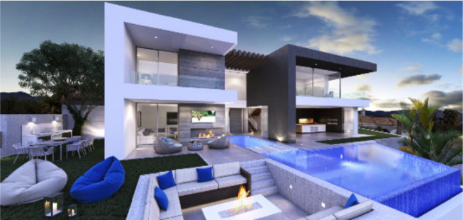 CUTTING EDGE STYLE WITH PANORAMIC SEA VIEWS.  This fabulous off plan 4-bed, 4-bath villa is located , Spain
