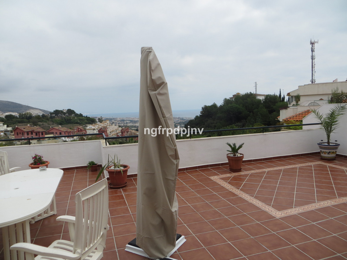 Ground Floor Apartment, Benalmadena Pueblo, Costa del Sol. 2 Bedrooms, 2 Bathrooms, Built 151 m², Terrace 100 m².  Setting : Town, Close To Town, Urbanisation. Condition : Good. Pool : Communal. Climate Control : Air Conditioning, Hot A/C. Views : Sea, Mountain, Panoramic, Garden, Pool. Features : Fitted Wardrobes, Near Transport, Private Terrace, Solarium, Paddle Tennis, Storage Room, Ensuite Bathroom. Furniture : Not Furnished, Optional. Kitchen : Fully Fitted. Garden : Communal. Parking : Underground, More Than One. Category : Holiday Homes, Investment, Resale.