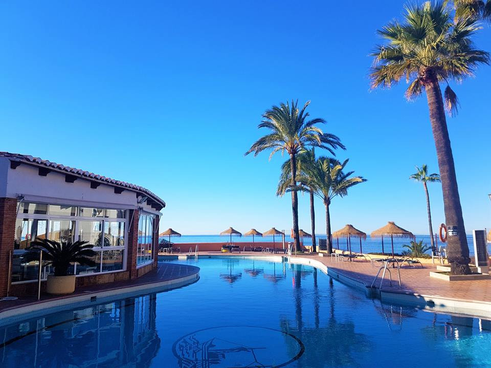 This second floor (no elevator) 1 bedroom apartment in costa del Sol well-known Dona Lola complex ma, Spain