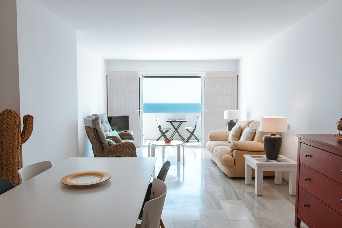 Fabulous apartment on the beachfront in Mijas Costas.  This apartment with two bedrooms and two bath, Spain
