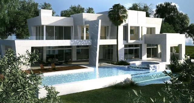 Exclusive villa project for sale in Sotogrande with big lounge with gable roof, sitting room, dining,Spain