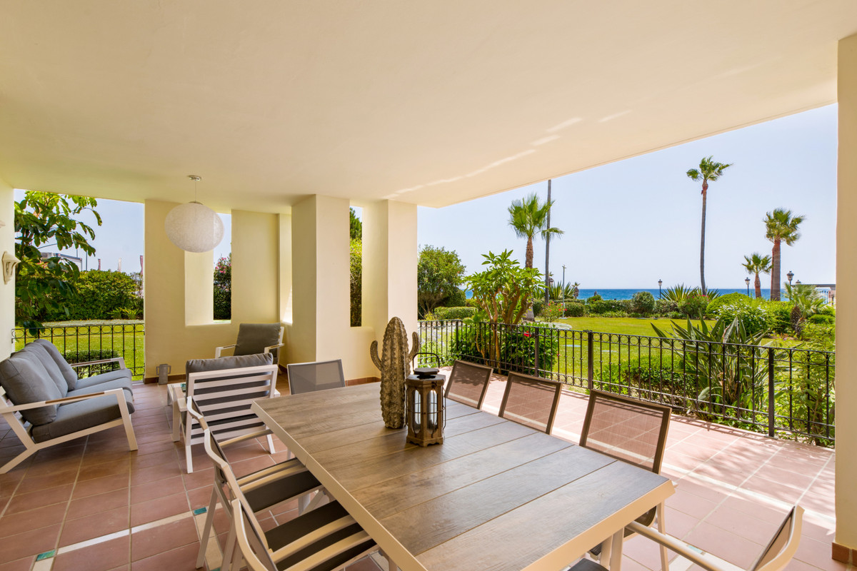 LUXURY FRONT LINE BEACH GROUNDFLOOR APARTMENT for sale on the New Golden Mile Estepona. This lovely ,Spain