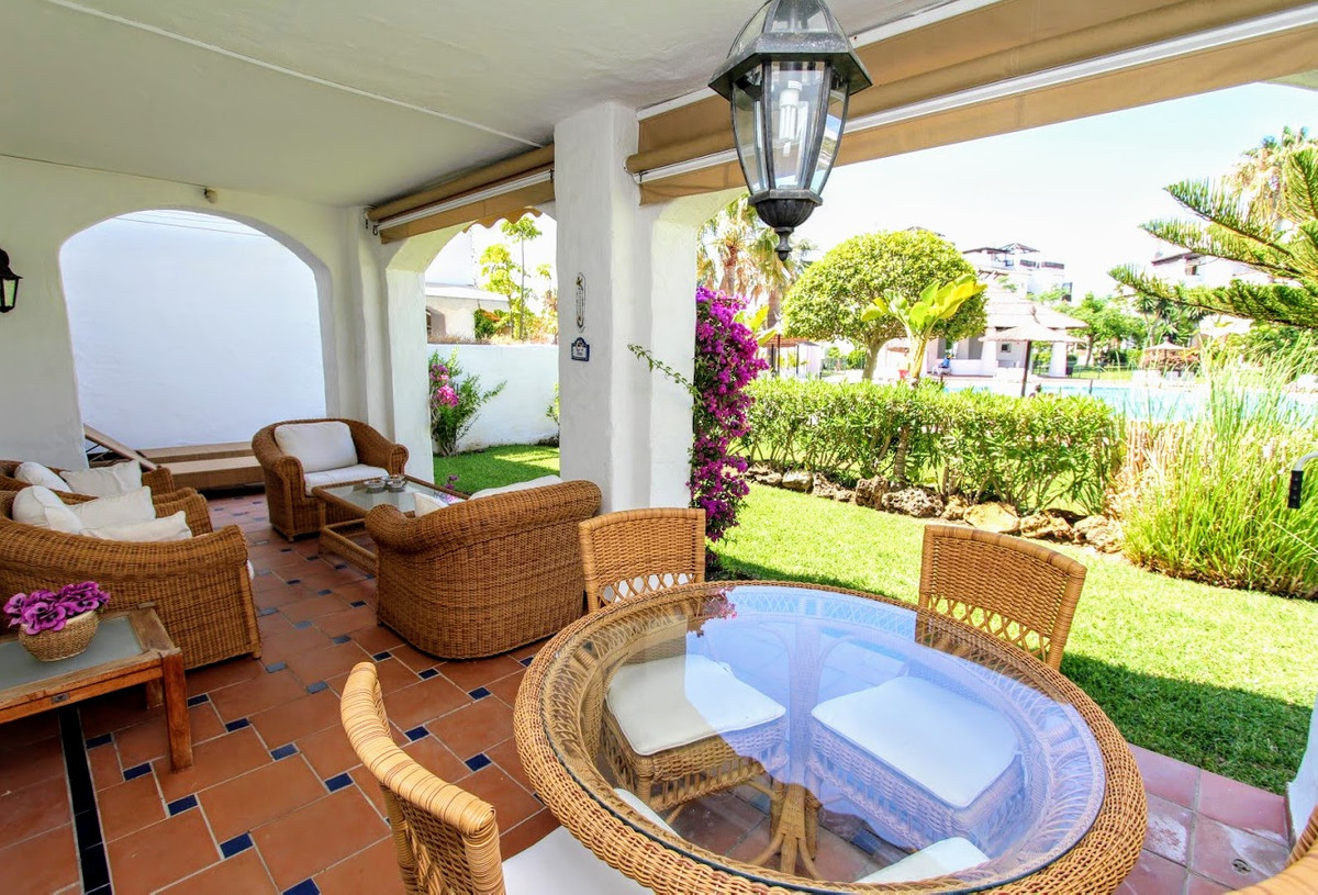 Beautiful south-west facing garden apartment in renowned residential complex Las Adelfas right on Sa, Spain